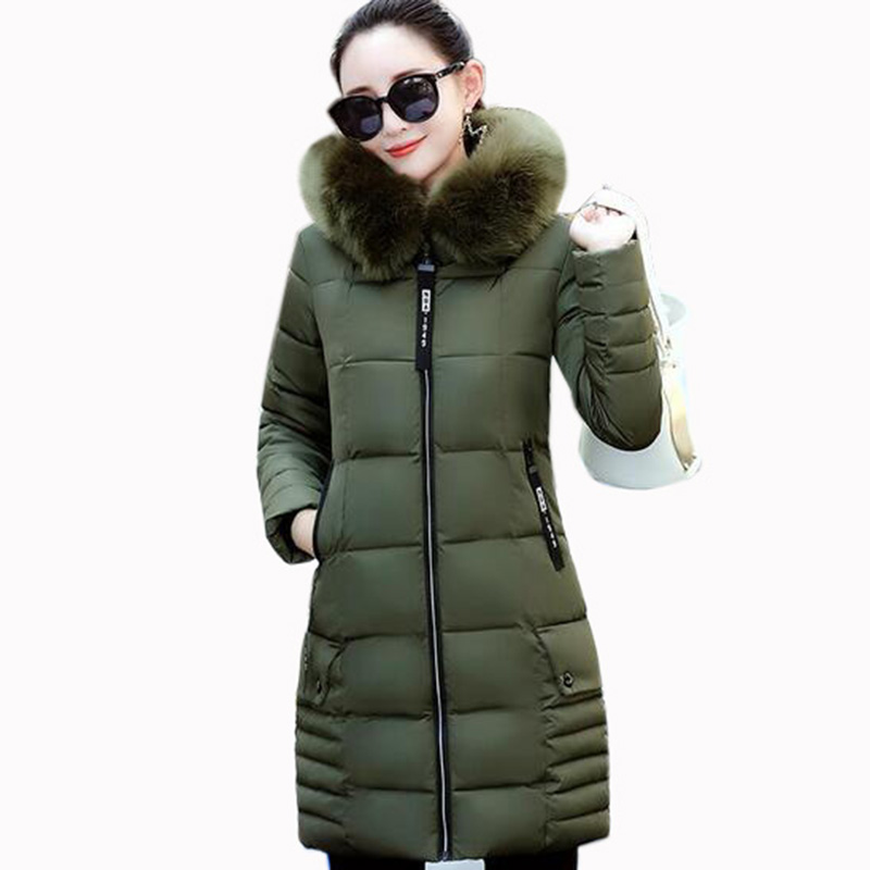 Women Coat Jacket Long Warm High Quality hooded big collar Woman down cotton Parka Winter Coat 2017 New Winter outerwear QH0455 2016 new high quality brand men winter cotton down jacket coat parka clothing men and women hooded warm outerwear overcoat