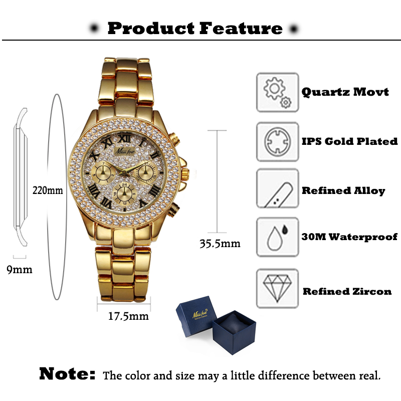 MISSFOX Women Watces Luxury Watch Women Fashion 18 Relogio Feminino Chronograph Roman Gold Ladies Watches Quartz Wristwatches 6