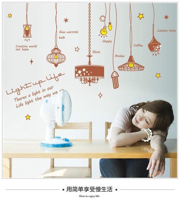 kreatif liontin cahaya lampu dinding decal sticker kata bahasa
