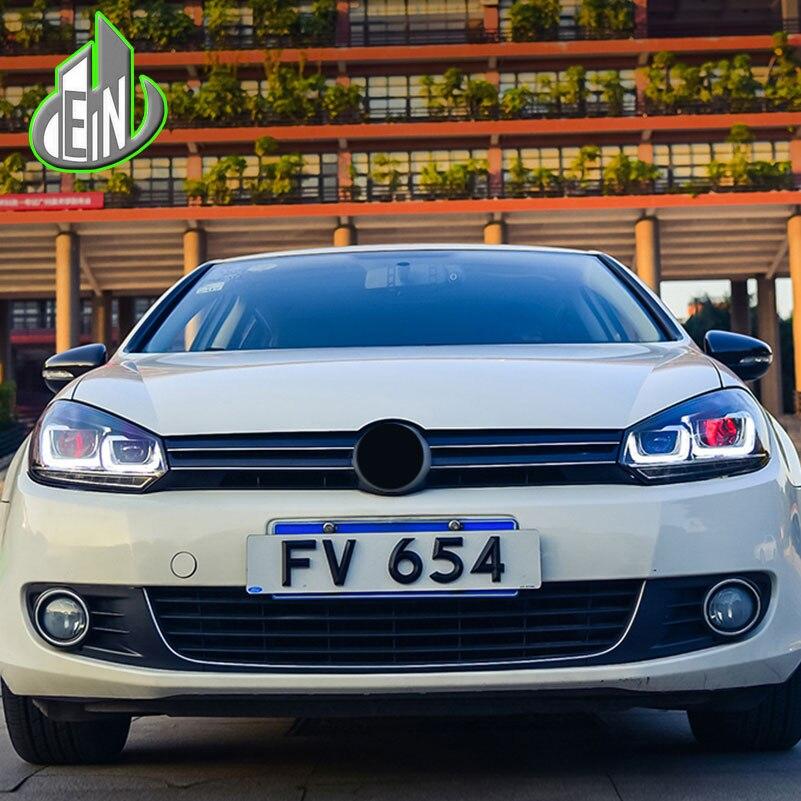 En стайлинга автомобилей Глава Лампа чехол для VW Гольф 6 фары 2019 2012 LED U ангел глаза DRL Би ксеноновые линзы течет поворотов headligh