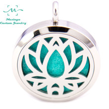 10pcs silver color Saint Yoga Lotus (30mm) Aromatherapy / Essential Oils surgical 316L S.Steel Perfume Diffuser Locket Necklace