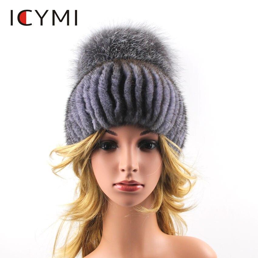 ICYMI Women Real Mink Fur Beanies for Winter Newest 2018 Hat With Luxury Pompom Fox Fur Cap Hats Elastic Knit Hat Female Fur Hat