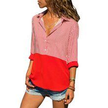 Women Plus Size Long Sleeves Chiffon Blouse Color Block Patchwork Vertical Stripes Shirt Lapel Collar Button Up Asymmetric Loose