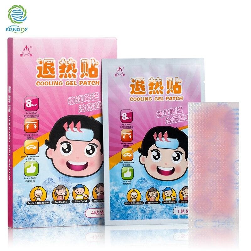 Паста за охлаждане на треска 4 части / кутия Физическа температура, отслабваща главоболие, болка, охлаждащ гел, мазилка за деца и възрастни