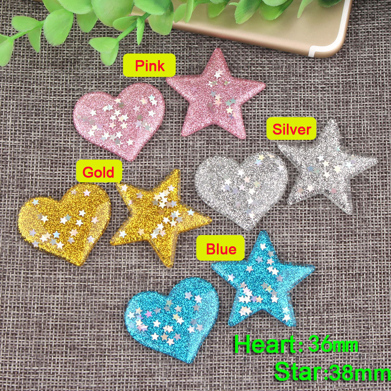 50pcs/Lot 36mm Multi Colors Heart Star Shape Crystal Glitter Resin Rhinestone Flatback DIY Bling Flat Back Scrapbooking Crafts