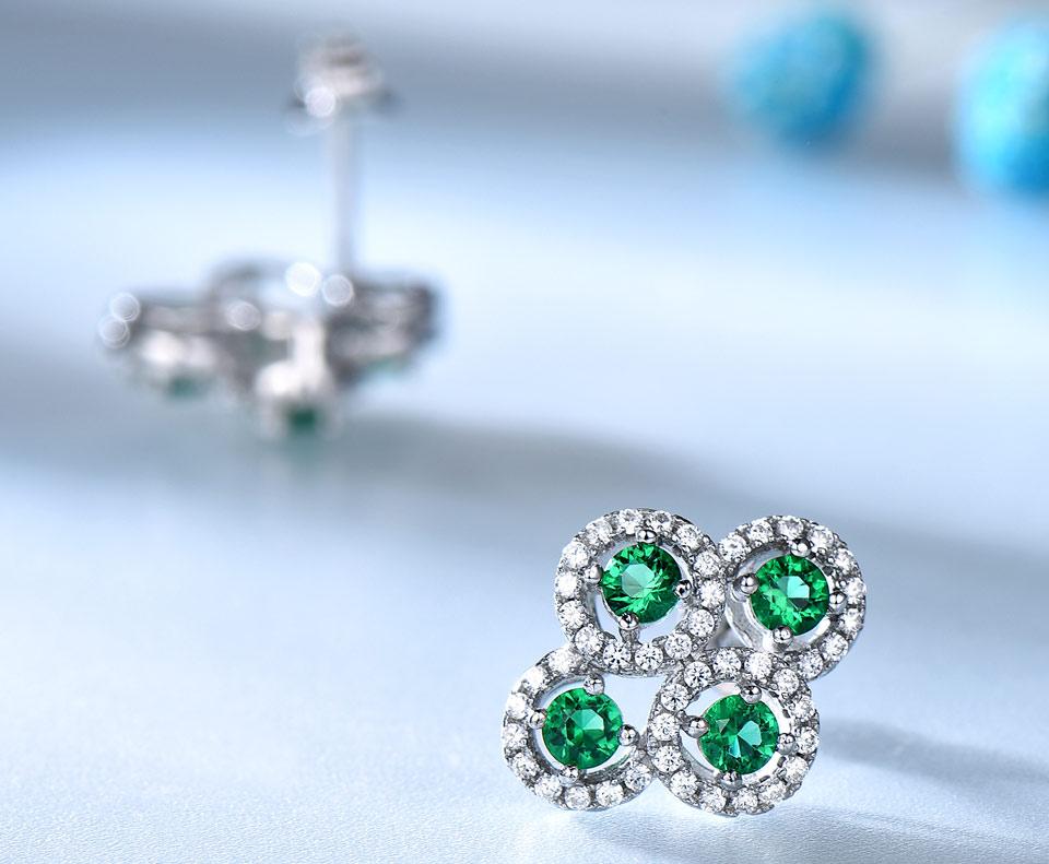 Emerald stud earrings for women UMCHO (4)