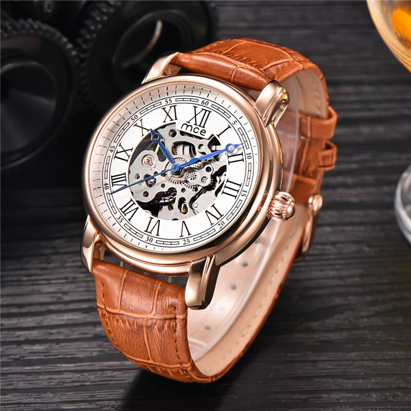 Colouring Gold Hollow Automatic Mechanical Watches Men MCE Luxury Brand Leather Strap Casual Vintage Skeleton Watch Clock relogi ks black skeleton gun tone roman hollow mechanical pocket watch men vintage hand wind clock fobs watches long chain gift ksp069