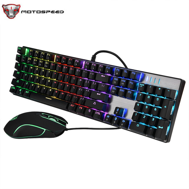 MOTOSPEED CK888 New Gaming Keyboard USB Wired RGB Backlight Mechanical Keyboard Mouse Combo For Computer Laptop Games Universal