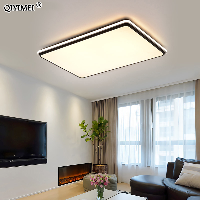 New Modern LED Ceiling Lamps For Living Room Remote Control Dimming For Dining Room Bedroom white and black lighting Lights-in Ceiling Lights from Lights & Lighting