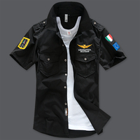 Summer Army Military Pilot Shirts Men Embroidery Summer Casual Cotton Air Force One Camisa Masculina Short