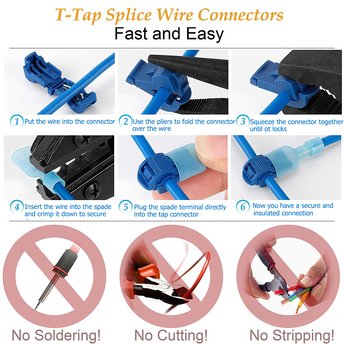 Image 2 - 240pcs T Tap Wire Connectors, Self Stripping Quick Splice Electrical Wire Terminals, Insulated Quick Disconnect Spade Terminals-in Connectors from Lights & Lighting