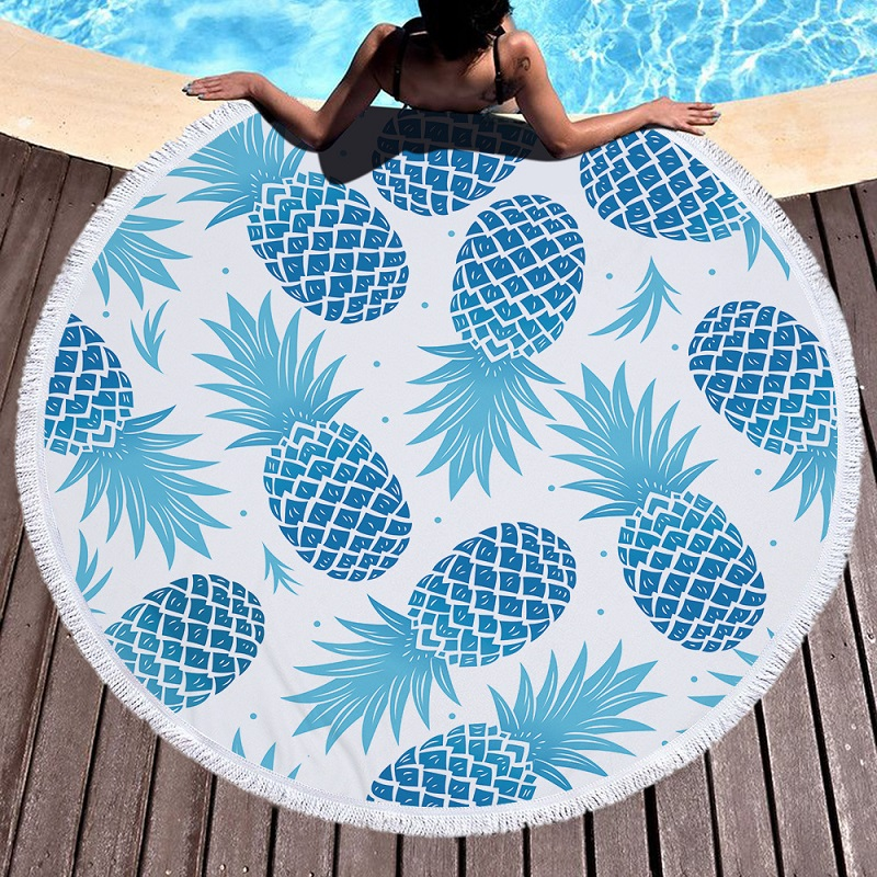 Customized Pineapple Printed Large Microfiber Round Beach Towels for Adults Kids toalha de praia Camping Yoga Mat Towel Children