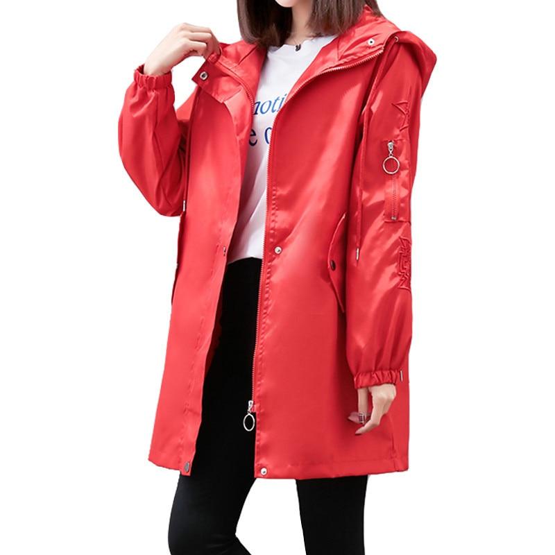 2019 New Spring Autumn   Trench   Coat Women Causal Long Sleeve With Hood Elastic Waistband Mid Long Female Coat Casaco Feminin R60