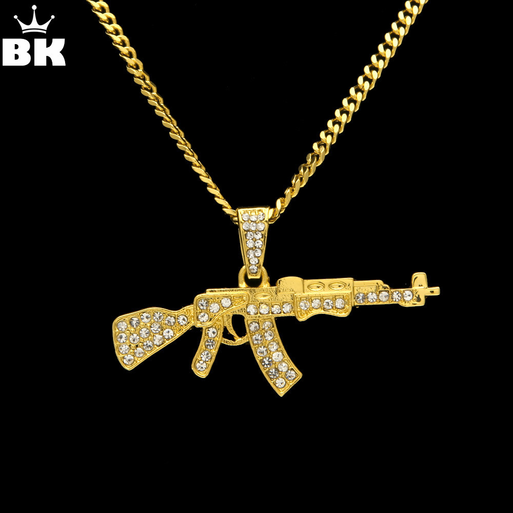 Alloy AK47 Gun Pendant Necklace Iced Out Rhinestone With Hip Hop Miami Cuban Chain Gold Silver Color Men Women Jewelry цена