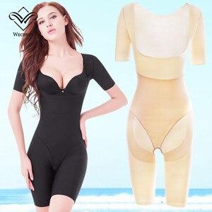 Image 5 - Wechery Shaper Slimmingชุดชั้นในหญิงหลังคลอดBodysuitเปิดMidiแขนSpandex Shapewearเอวรัดตัว