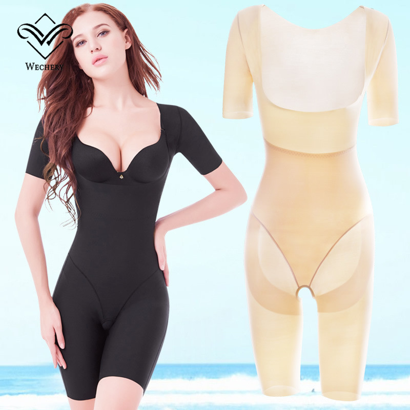 Wechery Shaper Slimming Underwear Female Postpartum Bodysuit Open Crotch Midi Sleeve Spandex Shapewear Waist Corset Girdle in Bodysuits from Underwear Sleepwears