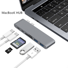 6 in 1 Dual Type C USB HUB Adapter Charger Card Reader USB Hub 3.0 Type-C Charging hub Con