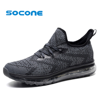 SOCONE 2017 Men Running Shoes Air Cushion Sneakers Max Comfortable Flywire Design Shoes For Men Outdoor