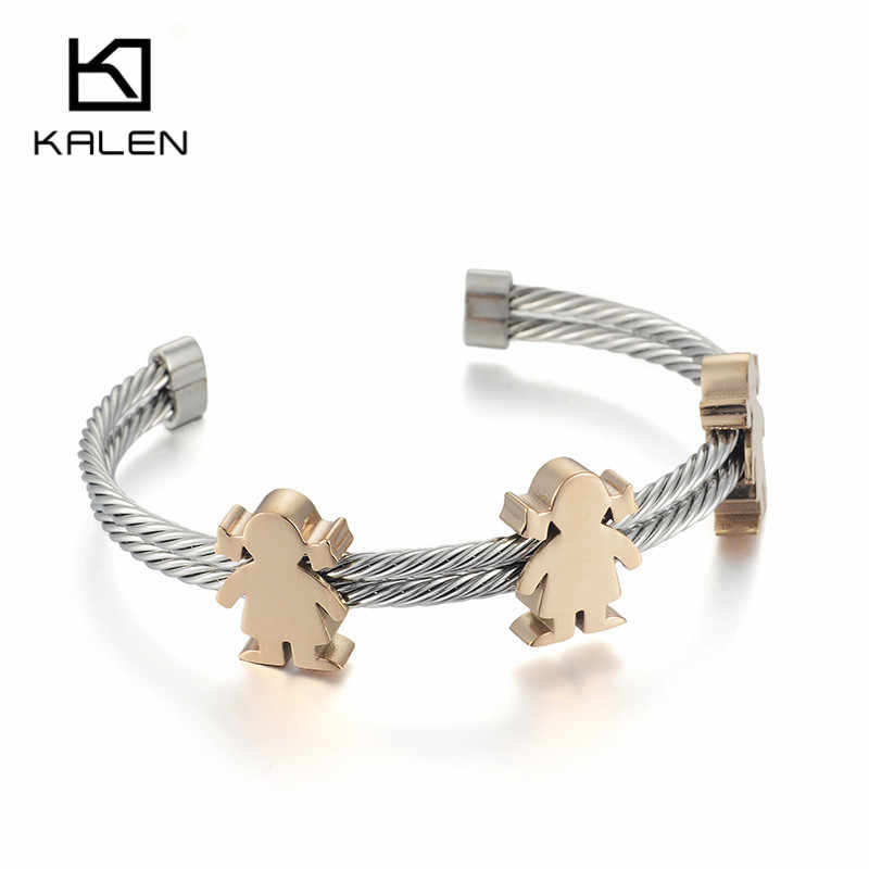 Kalen New Rose Gold Cuff Bangles Stainless Steel Children Cartoon Girl Charm Bangles Bracelets Jewelry Accessory Birthday Gifts