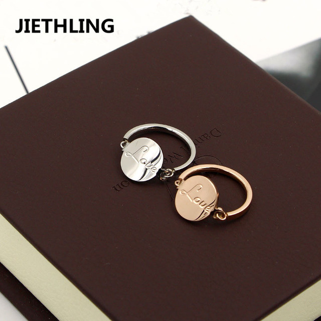 New Hipster Jewelry Love Letter Round Charming Wedding Rings For