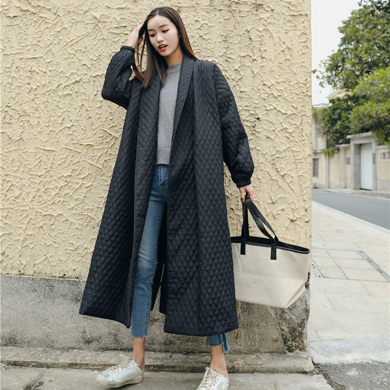 LANMREM New Fashion Black Oversize Lapel Back Vent Button Winter Jacket 2018 Female's Long Cotton Coat Jaqueta Feminina WTH1201 image
