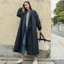 Женское тонкое пальто LANMREM, Черное длинное хлопковое пальто оверсайз с отворотом на пуговицах сзади, модель WTH1201, 2020