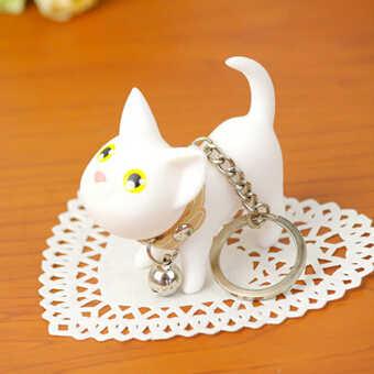Кошка любовник ключ Чиан черный белый котенок игрушечная кошка кольцо колокольчик киска брелок кольцо котенок Модель брелок