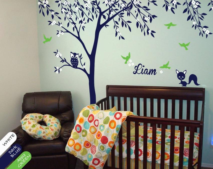 Custom Name Owl Fox Large Tree Wall Stickers Home Decor