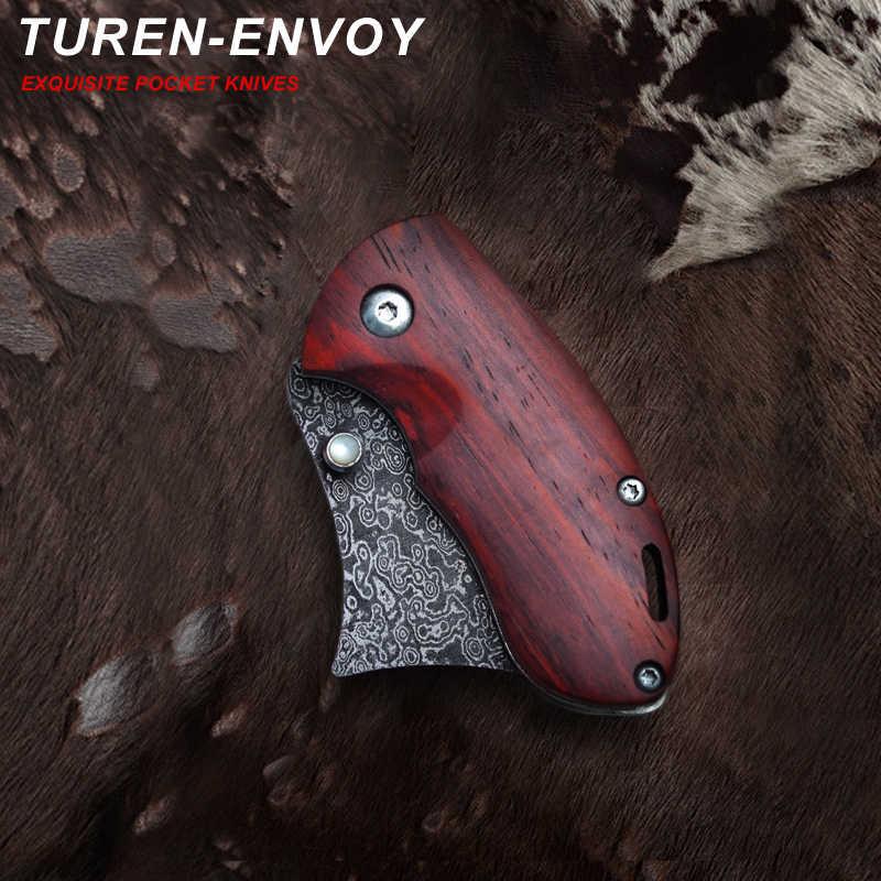 TUREN-Envoy 58 HRC aço de Damasco Feito À Mão/440-C lâmina de aço ao ar livre faca de bolso rosewood handle