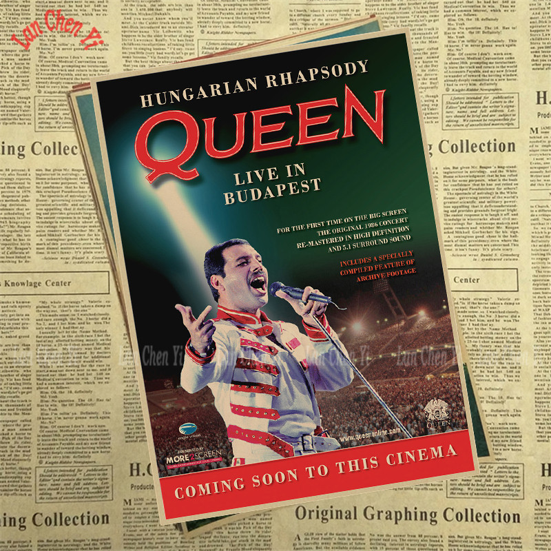 US $1 39 30% OFF|Queen Band Music Kraft Paper Poster Vintage High quality  Printing Drawing core Decorative Painting-in Wall Stickers from Home &