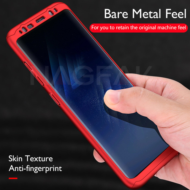 360 Degree Full Cover Phone Cases For Samsung Galaxy S9 Plus S8 Plus Note 8 S6 Edge Case Hard Plastic Cover S7 Edge With Glass