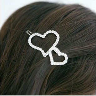 Min. order 12 pieces mix available, Double heart hair clip,6003.3641.Free shipping