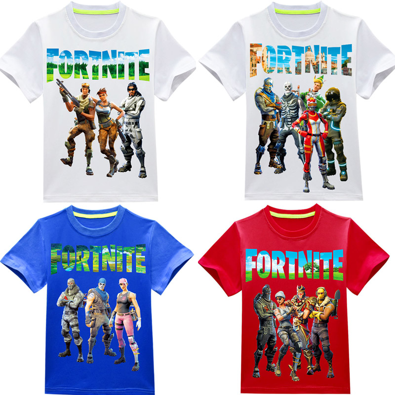 4 Styles 3-12T 2018 Fortnite Summer Short Sleeve Tops Tees T-shirt Shirt for Girl Boy Cotton 3D Printing Tshirt Children Clothes