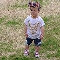 2017 Novas Crianças Meninos Meninas crianças T-shirt dos desenhos animados do traje Raposa roupas De Cerveja roupas de manga curta crianças meninas meninos tops H517