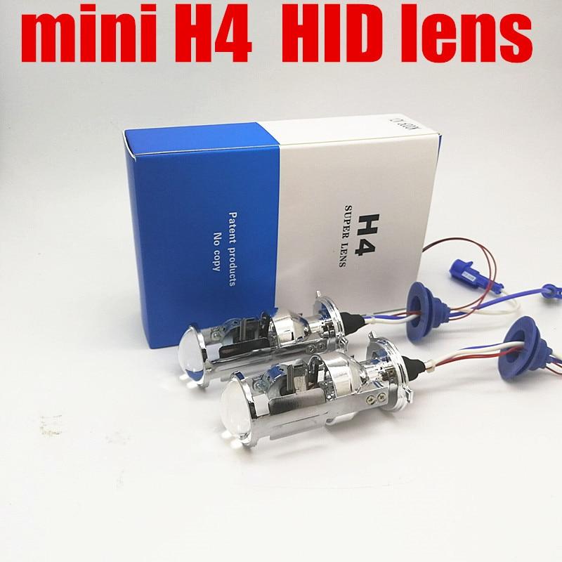 Dianshi 2 pcs mini xenon lamp 55W H4 high low Bi xenon lens bulb H4-3 hi lo HID projector Headlight xenon H4 replacement bulb diy ceramic h4 socket bulb connector orange white 2 pcs