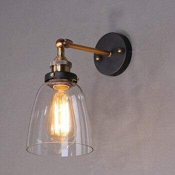 لوفت الصناعية اديسون ستريت مصابيح واضح زجاج الجدار الشمعدان مصابيح مستودع e27 110 فولت/220 فولت السرير الإضاءة