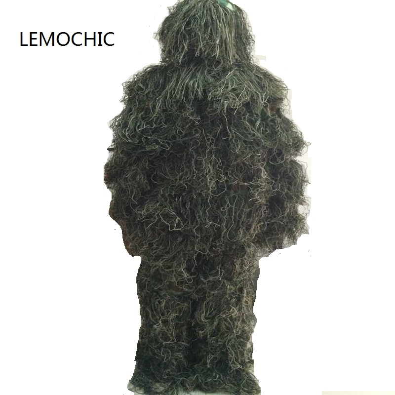 LEMOCHIC desert sniper camouflage ghillie suits bionic multicam snowfield tactical military army combat woodland hunting uniform outdoor military jungle 3d bionic leaf hunting ghillie suits sniper woodland camouflage shade hunt clothing survival training
