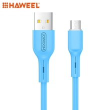 цена на HAWEEL 1m High Elasticity TPE Cord 2A USB A to Micro USB Data Sync Charge Cable For Galaxy, Huawei, Xiaomi and Other Smart Phone