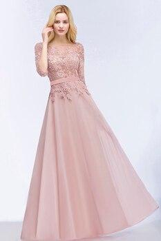 Misshow Elegant Prom Dresses 2020 Long Pink Chiffon Gown Lace Applique Pearl Half Sleeve vestidos de gala 2019 2