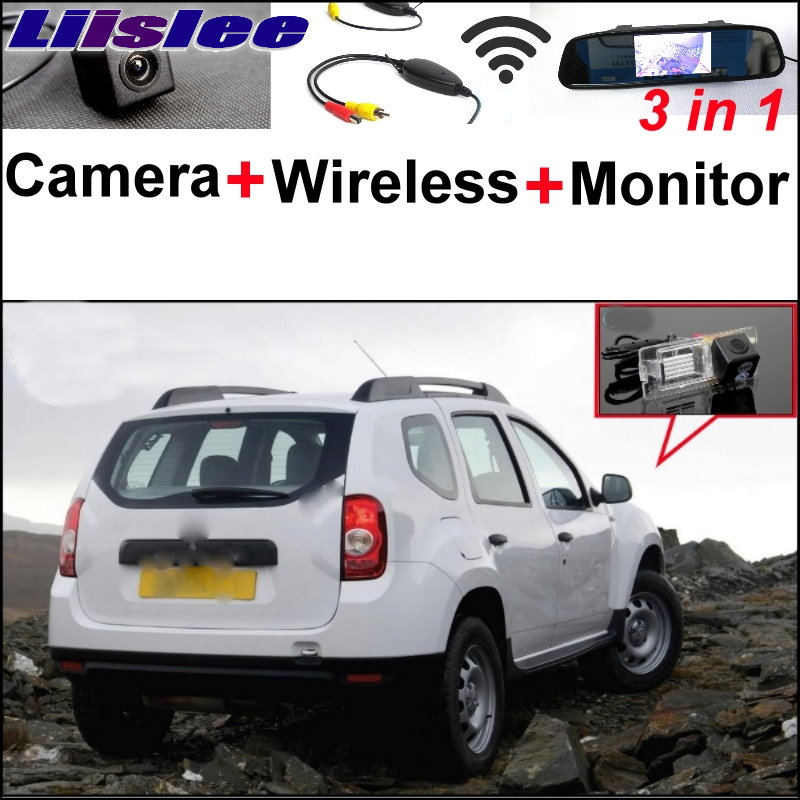 Liislee 3 in1 Special Camera + Wireless Receiver + Mirror Monitor EASY DIY Back Up Parking System For Renault Duster 2010~2014 liislee for renault samsung qm5 3 in1 special rear view camera wireless receiver mirror monitor easy back parking system