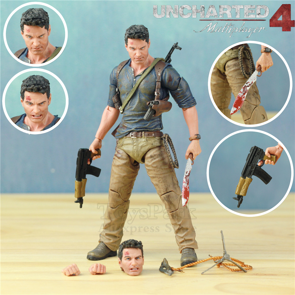"Uncharted 4 A Thief's End Ultimate Nathan Drake 7"" Action Figure Doll Toys KO's NECA Video Game Sony PS4 Naughty Dog Collectible-in Action & Toy Figures from Toys & Hobbies"