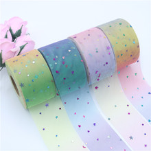 50Yards/Roll 6cm Sequins Love&Stars Tulle Mesh Fabric Ribbon Tutu Baby Show for DIY Crafts Gift Wedding Birthday Party Deco