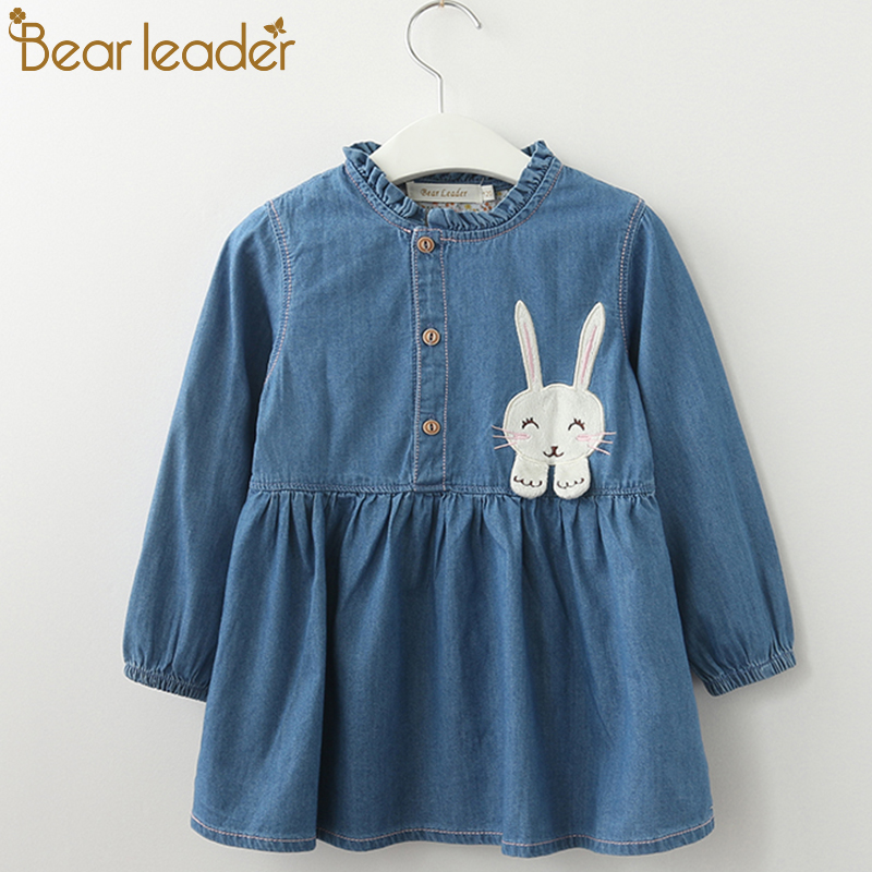 Bear Leader Girls Dress 2018 New Autumn Casual Style Girls Denim Dresses Long Sleeve Rabbit Patch Design For Children Clothing patch design distressed denim jacket