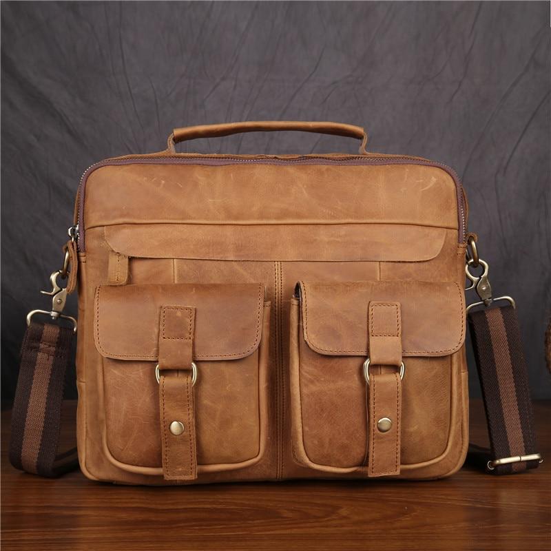 Mandlige Messenger Tasker Ægte Cowhide Læder Håndtasker Crossbody - Dokumentmapper