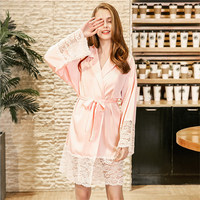 Sexy Bridesmaid Short Satin Bride Robe Lace Kimono Women Wedding Sleepwear Summer Female Bathrobe Lingerie Clothes Home Femme