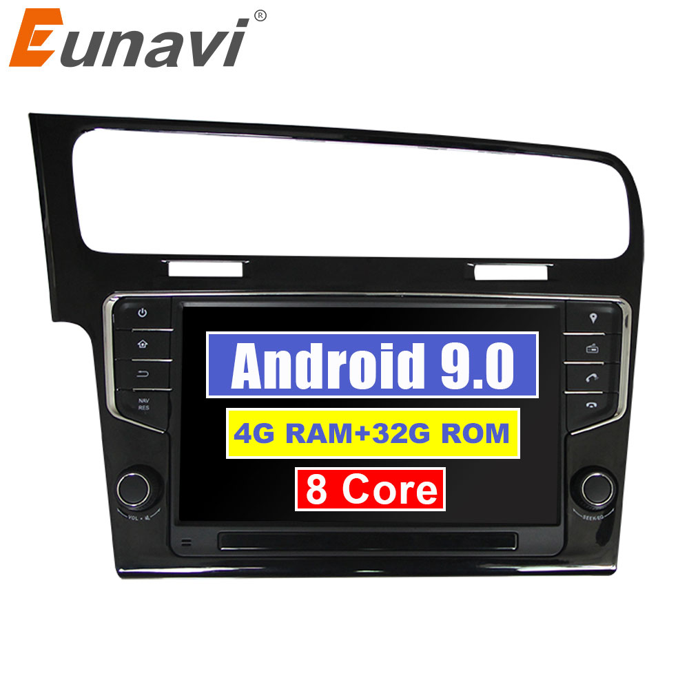 Eunavi Octa Core 9'' Android 9.0 4GB RAM Car Radio GPS Player for VW GOLF 7 golf7 2013-2017 head units stereo audio navigation