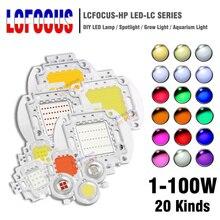 Светодиодный чип высокой мощности 1 Вт 3 Вт 5 Вт 10 Вт 20 Вт 30 Вт 50 Вт 100 Вт SMD COB светильник Теплый Холодный белый красный зеленый синий RGB полный спектр светильник для выращивания растений