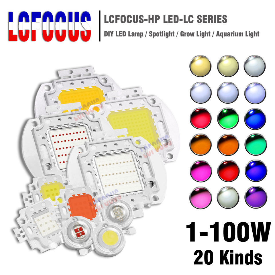 High Power LED Chip 1W 3W 5W 10W 20W 30W 50W 100W SMD COB Light Bead Warm Cold White Red Green Blue RGB Full Spectrum Grow Light
