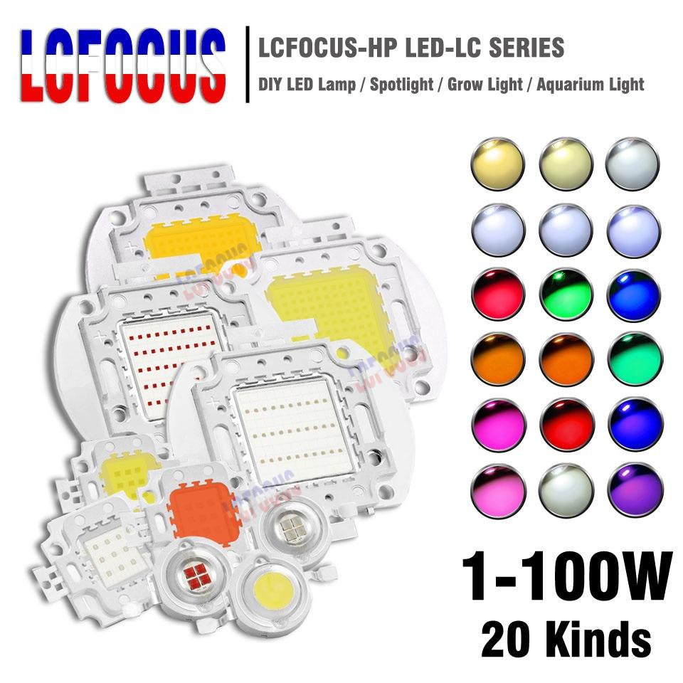 High Power LED Chip 1W 3W 5W 10W 20W 30W 50W 100W SMD COB Light Bead Warm Cold White Red Green Blue RGB Full Spectrum Grow Light