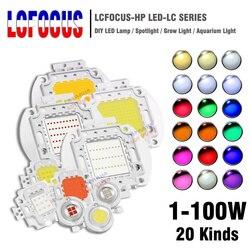 LED de alta Potência Chip 1 W 3 W 5 W 10 W 20 W 30 W 50 W 100 W SMD COB Talão de Luz Quente Frio Branco Vermelho Verde Azul RGB Espectro Completo Cresce A Luz